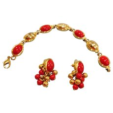 Liz Claiborne Chinese Red Bracelet and Pierced Earrings Demi Parure