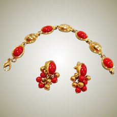Liz Claiborne Chinese Red Bracelet and Pierced Earrings Demi Parure
