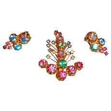 Vintage Rhinestone Brooch and Earrings Set - Signed KARU ARKE INC