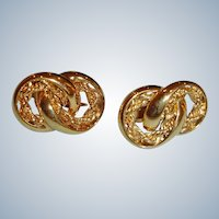 Vintage Napier Clip-On Gold  Tone Earrings