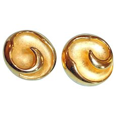 Gold Tone Swirl Design Gold Tone Clip-On Earrings
