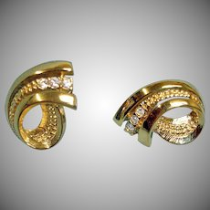 Vintage Rhinestone and Gold Plated Pierced Earrings