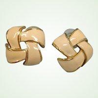 SALE*** Vintage Creamy Beige Enamel Gold Tone Earrings - Love Knot Pierced Earrings