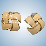 Vintage Creamy Beige Enamel Gold Tone Earrings - Pierced Earrings