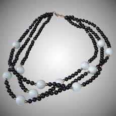 "Vintage Monet Black White Golden - 3 Strand MONET Necklace - 17"" Long"