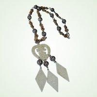 30% off sale - Vintage Faux Ivory Asian Pendant Necklace - Oriental Style Necklace
