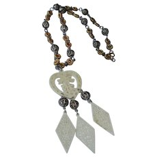 Vintage Faux Ivory Asian Pendant Necklace - Oriental Style Necklace