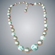 Vintage Cream and Turquoise Color Necklace - Light Weight