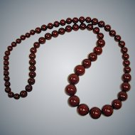 "Vintage  Burgundy-Brown  Bead Necklace - 40"" Long"