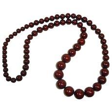 "Vintage  Burgundy-Brown  Bead Necklace - 40"" Long"