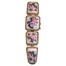 Vintage Russian Porcelain Wrist Watch - as is