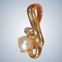 Vintage Cultured Pearl and Faux Diamond Gold Plated Pendant