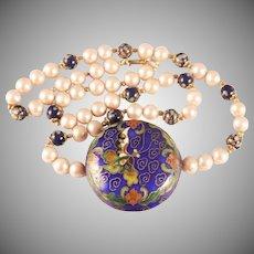 HOBE Round Enamel Guilloche Pendant Faux Pearl and Cloisonne Bead Necklace - Butterfly Cloisonne Pendant Necklace