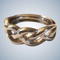 20% Off SALE:  Vintage Silver Plated Braid Ring - Adjustable