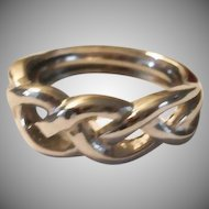 Vintage Silver Plated Braid Ring - Adjustable