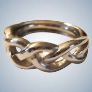 Vintage Silver Plated Braid Ring - Adjustable