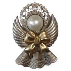 Vintage JAC WIN Angel - Christmas Angel Brooch Pin