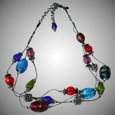 Estate CHICO'S Multi Color Glass Bead Necklace