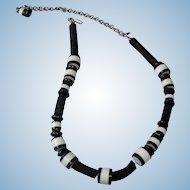 Vintage Kenneth J Lane Necklace - KJL Black and White Necklace
