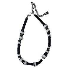 SALE - Vintage Kenneth J Lane Necklace - KJL Black and White Necklace