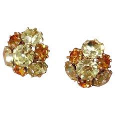 Vintage Vogue Signed Rhinestone Earrings
