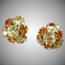 Vintage VOGUE Signed Rhinestone Earrings