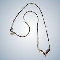 50% Off SALE:  Vintage Golden Stylized Heart Pendant Necklace