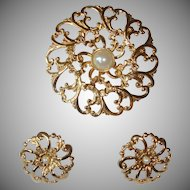 Vintage Faux Pearl  Brooch and Earrings Set - Gold Tone Demi Parure