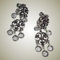 50% Off SALE:  Vintage Silver Tone Dangle Earrings - Drop Faceted Crystal Earrings