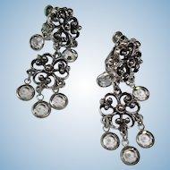 Vintage Silver Tone Dangle Earrings - Drop Faceted Crystal Earrings