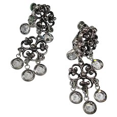 Vintage Silver Tone Dangle Earrings - Drop Faceted Crystal Earrings