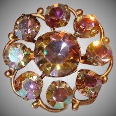 Vintage Aurora Borealis AB Gold Tone Pin Brooch