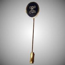 Vintage Black Enamel and Gold Tone Stick Pin / Lapel Pin - Initial Letter E