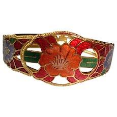 Vintage Cloisonne Bangle Hinged Bracelet
