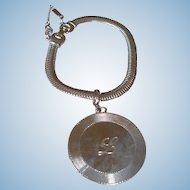 """Vintage MONET Bracelet -Monogram  Initial  """"L""""  Silver Tone"""