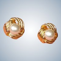 40% Off SALE:  Vintage Faux Pearl Pierced Earrings- Signed VON