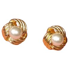 Vintage Faux Pearl Pierced Earrings- Marked VON