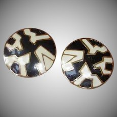 Vintage MONET - Super Sized Pierced Black and White Earrings