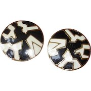 Vintage MONET - Super Sized Pierced Black and White Earrings