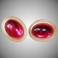Vintage Red Cabochon Post Pierced Earrings