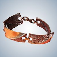 Vintage Copper Link Bracelet - 7 Inches Long
