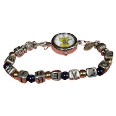 Vintage University of Michigan Wrist Watch - Wolverines Beads