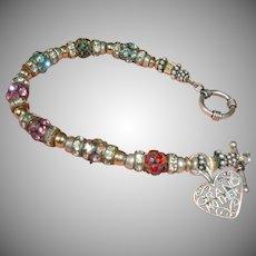 Estate GRAND MOTHER Charm - Silver Tone Beaded Rhinestone Bracelet