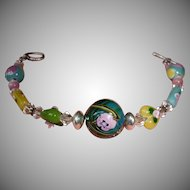 "Multi Color Beaded  Silver Tone Bracelet - 7 1/2"" Long - Toggle Closure"