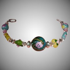"Multi Color Beaded  Silver Tone Bracelet - 7 1/2"" Long - Toggle Closure"