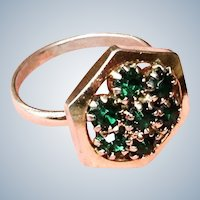 Vintage Green Rhinestone Ring - Adjustable Cluster Ring