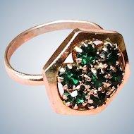 Vintage Green Rhinestone Ring - Adjustable
