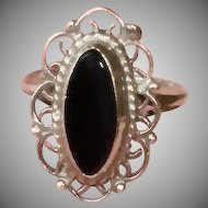 Vintage Sterling Silver and Onyx Filigree Ring