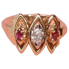 Vintage 10K Yellow Gold Ruby and Diamond Cluster Ring - Wedding Ring - Cocktail Ring - Sz. 6