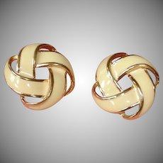 Vintage Creamy Light Blush Beige Enamel Gold Tone Earrings - Vintage NAPIER Pierced Earrings